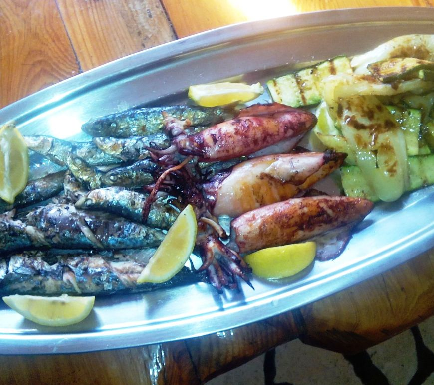 grilled fish calamari shrimp vegetables stari ribar konoba skojera