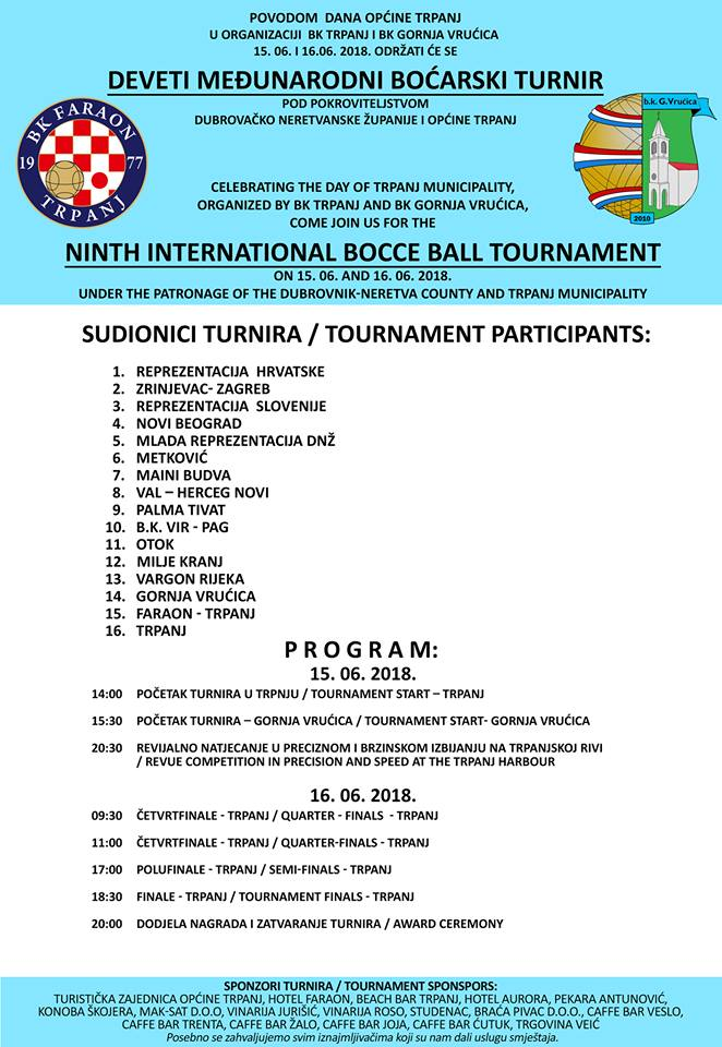 9th International Boccie Tournament Trpanj