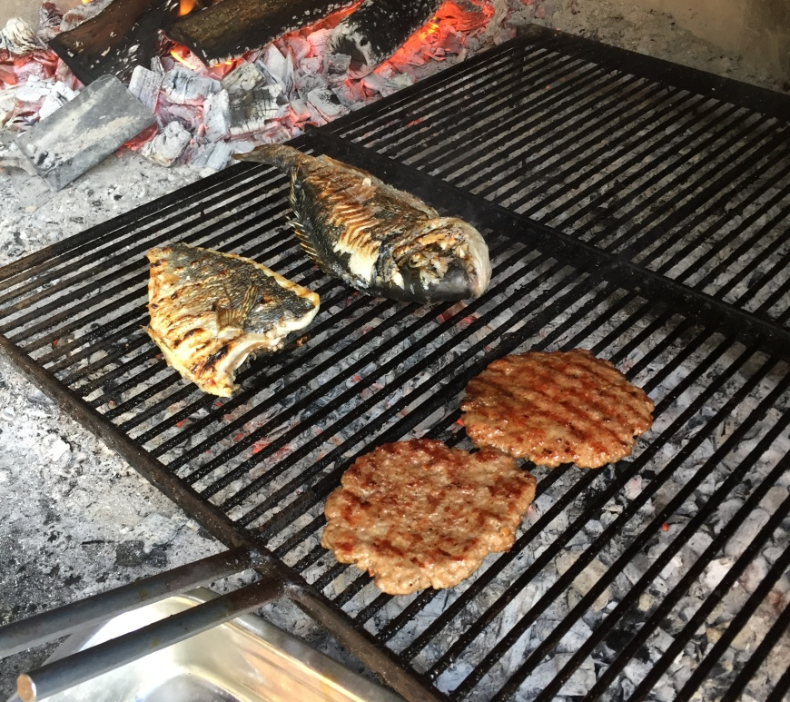 grilled fish and meat