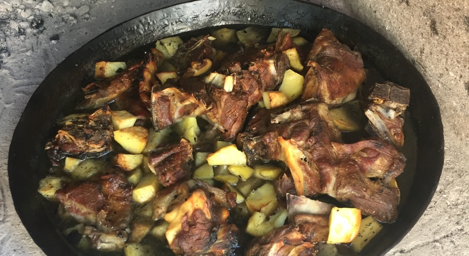 baked lamb and potatoes